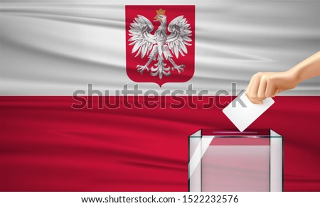 Vote for Poland election with voting box and Polish flag. Vector Illustration.