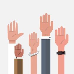 vote hand. up hand - vector illustration