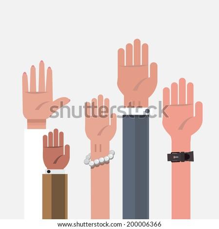 vote hand up hand   vector