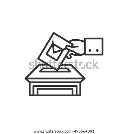 Vote icon, line design. bulletin in hand, vector linear illustration.