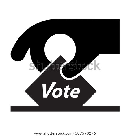 Vote icon / sign - hand holding a voting slip