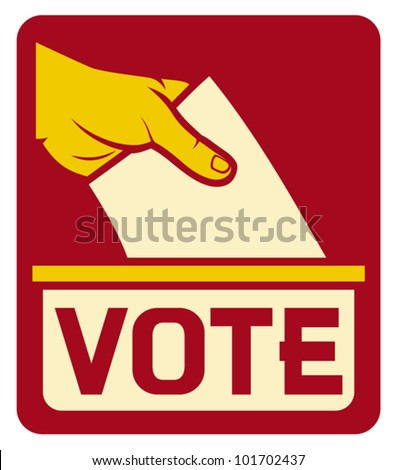 vote label (hand putting a voting ballot in a slot of box)