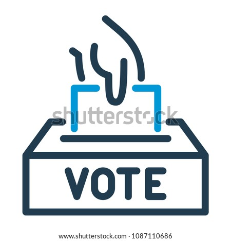 Vote line icon. Hand putting paper in the voting box.