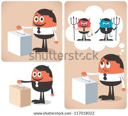 Vote: Man voting at ballot box.