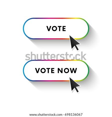 Vote now button. Vote button. Spectrum gradient. Long shadow. Vector illustration.