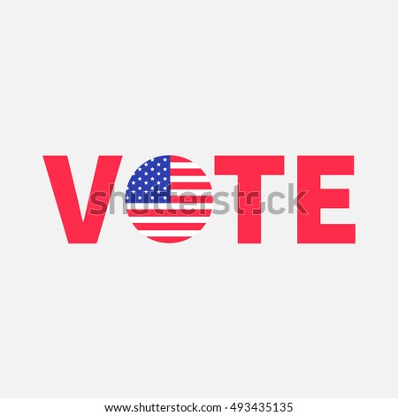 Vote red text Round American flag. Star and strip. President election day. Voting concept. Isolated White background Flat design Vector illustration