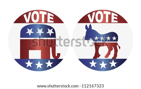 Vote Republican Elephant and Democrat Donkey Buttons Illustration