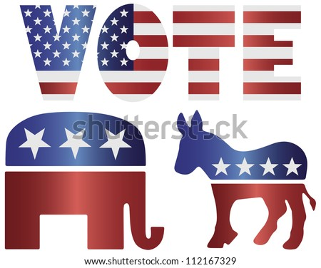 Vote Republican Elephant and Democrat Donkey with American USA Flag Silhouette Illustration