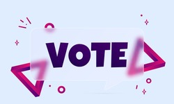 Vote. Speech bubble banner with Vote text. Glassmorphism style. For business, marketing and advertising. Vector on isolated background. EPS 10.
