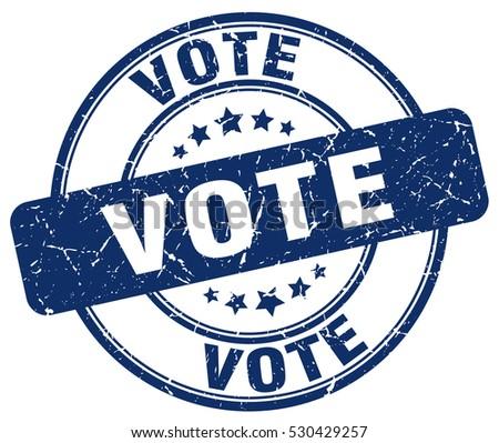 vote. stamp. blue round grunge vintage vote sign