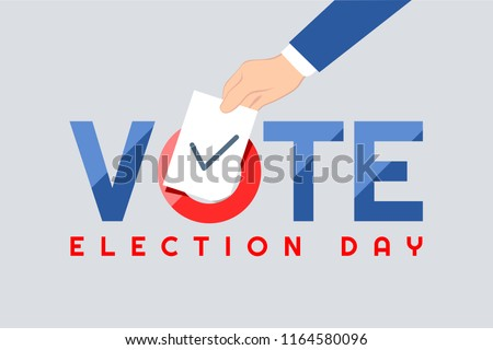 Vote text.Presidential Text Election Day Symbolic Elements White background.