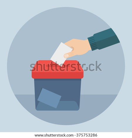 Shutterstock Vote vector illustration. Ballot and politics. Hand puts voting ballot in ballot box. Voting and election concept. Make a choice image.