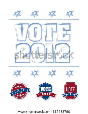 vote 2012 with blue and red tags over white background. vector