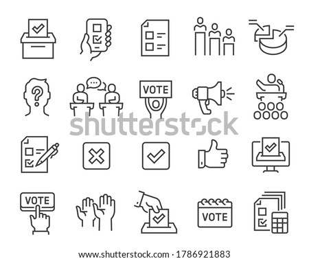 Voting and Election Icons Set. Collection of linear simple web icons such as Form, Online Voting, Debate, Candidate Rating, Vote Count and others. Editable vector stroke. Stock photo ©
