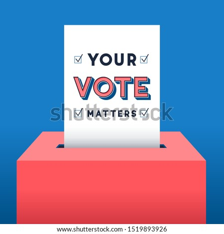 Voting Background -Vector background of voter ballot going into a ballot box. The ballot has the message: Your Vote Matters Foto stock ©