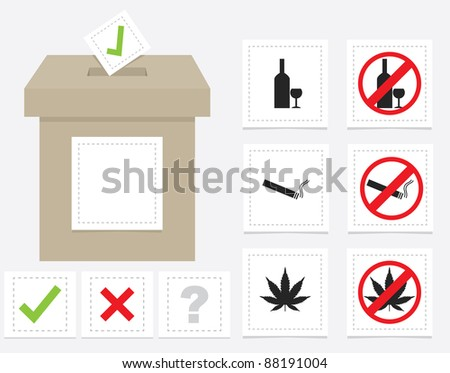 voting ballot box with various signs and symbols