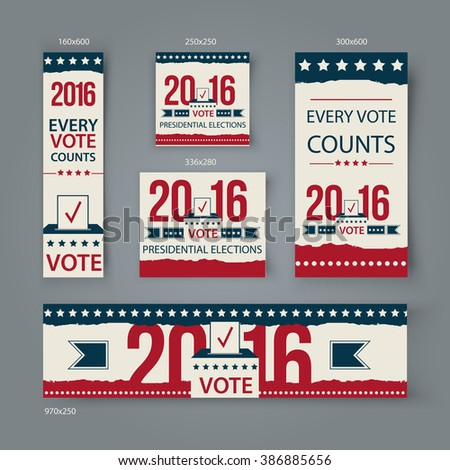 Voting Banners vector set design. US presidential election in 2016. Vote 2016 USA banners for website or social media cover.