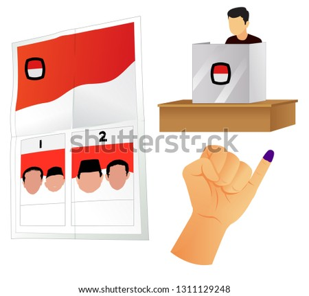 voting booth,inked finger and ballot - vector