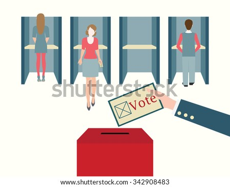 Voting booths with men and women casting their ballots at a polling place, Vote ballot with box, vector illustration.