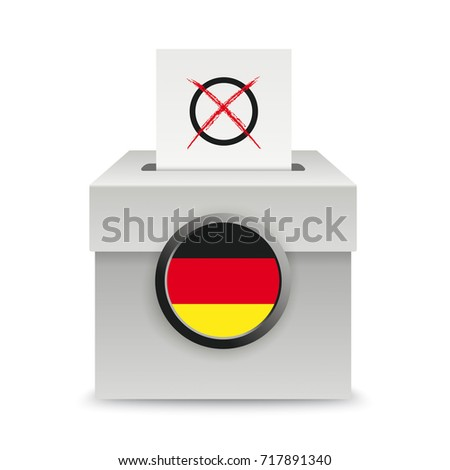 Voting box with voting paper on the white background. Eps 10 vector file.