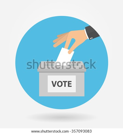 Voting concept in flat style - hand putting voting paper in the ballot box in a circle shaped icon