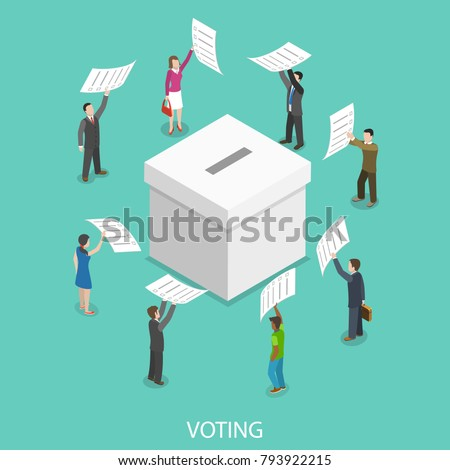 Voting flat isometric vector concept. People are putting their ballot papers into the big paper voting box.