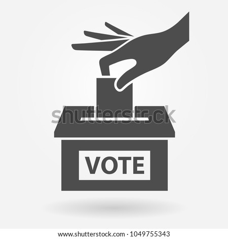Voting icon concept. Hand putting paper into the ballot box