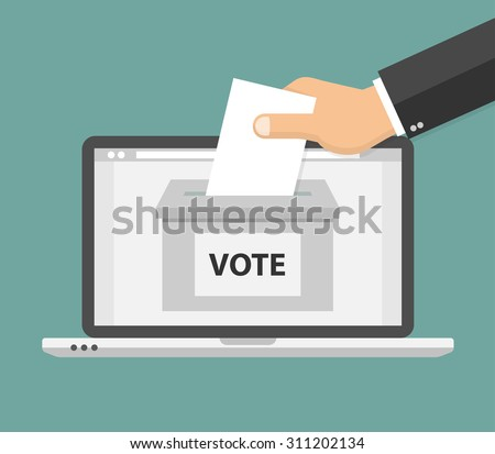 Voting online concept. Hand putting voting paper in the ballot box on a laptop screen. Flat style