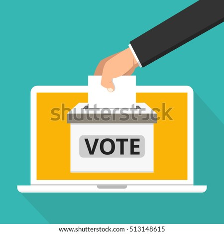 Voting online concept. Hand putting voting paper in the ballot box on a laptop screen. Flat vector illustration.