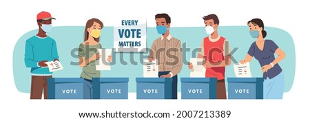 Voting process during pandemic. Voters in masks cast paper ballot putting vote into election box set. Men, women voting in favor or against candidate. Polling place flat vector illustration Foto stock ©