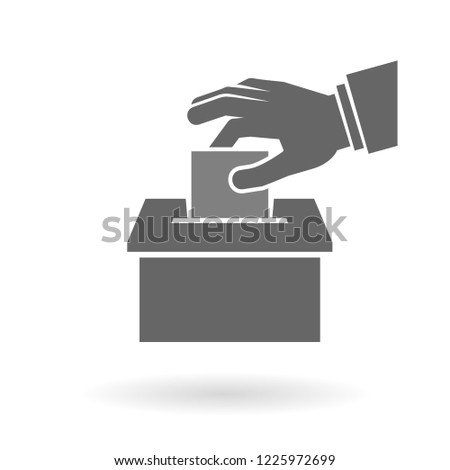 Voting, suggestion or feedback icon concept. Hand putting paper into the box
