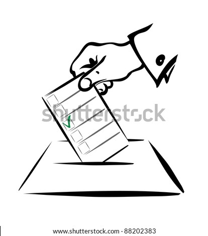 voting symbol in simple black lines, isolated illustration