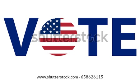 Voting Symbols vector design. template Elections icons. check marks. Patriotic voting poster. Presidential election in USA. Typographic banner with round flag of the United States.