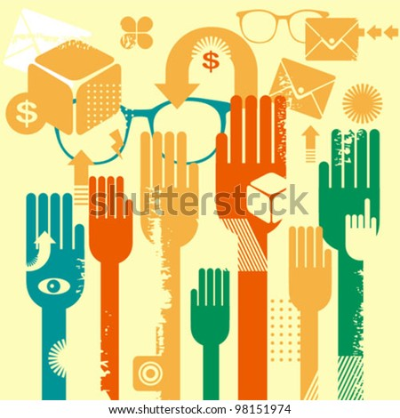 Voting. Vector illustration with colorful arms and other objects. - stock vector