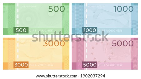 Voucher banknote with guilloche. Discount certificate in money design with watermark patterns. Gift coupon or currency vector set. Illustration certificate guilloche pattern, business coupon gift Stock photo ©