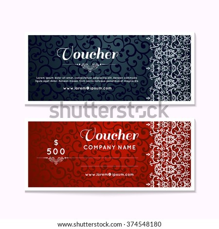 voucher gift certificate coupon template floral scroll pattern