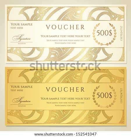 Voucher gift certificate coupon template floral scroll for Cheque voucher template