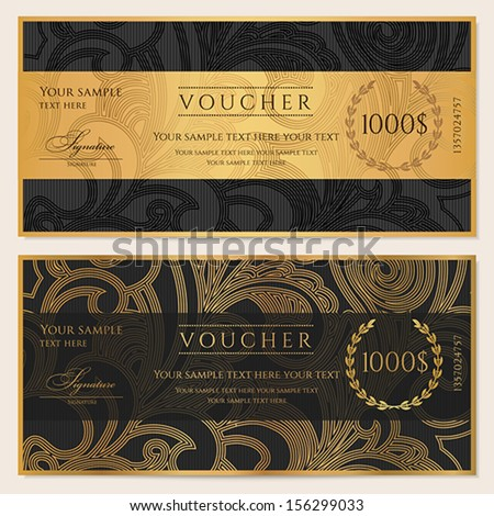 Voucher Gift certificate Coupon template Floral scroll pattern bow frame Background design for invitation ticket banknote money design currency check cheque Black gold vector