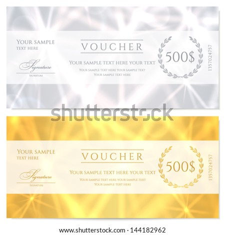 Voucher Gift certificate Coupon template with abstract pattern sparkling twinkling stars Background design for invitation banknote cheque check currency banner Gold silver colors