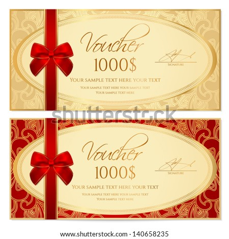 Voucher / Gift certificate / Coupon template with border, frame, bow (ribbons). Background design for invitation, banknote, diploma, money design, currency, check. Vector in gold, red (maroon) colors