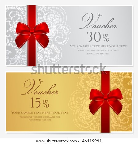 Voucher, Gift certificate, Coupon template with border, frame, bow (ribbons). Background design for invitation, banknote, money design, currency, check (cheque). Vector in gold, red (maroon) colors