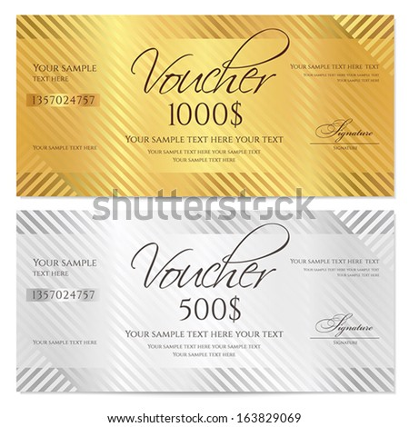 Voucher Gift certificate Coupon template with stripe pattern Gold and silver background for money design currency note check cheque ticket reward Vector
