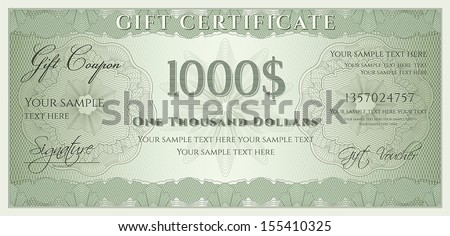 Charming Voucher, Gift Certificate, Coupon, Ticket Template. Guilloche Pattern  (watermark, Spirograph Amazing Ideas
