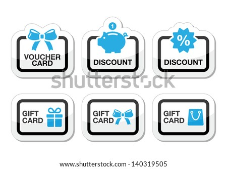 Voucher gift discount card vector icons set