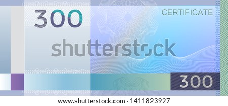 Voucher template banknote 300 with guilloche pattern watermarks and border. Blue background banknote, gift voucher, coupon, diploma, money design, currency, note, check, cheque reward certificate
