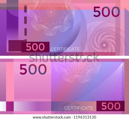 Voucher template banknote 500 with guilloche pattern watermarks and border. Purple background banknote, gift voucher, coupon, diploma, money design, currency, note, check, cheque, reward. certificate