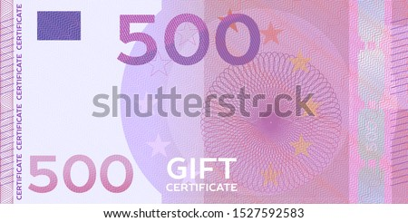 Voucher template banknote 500 with guilloche pattern watermarks and border. Violet background for gift voucher, coupon, money design, currency, note, check, reward, certificate design