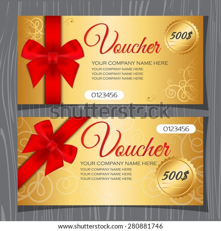 Voucher template, Gift certificate, Coupon template with bow and ribbons. Premium gold background and red ribbon.