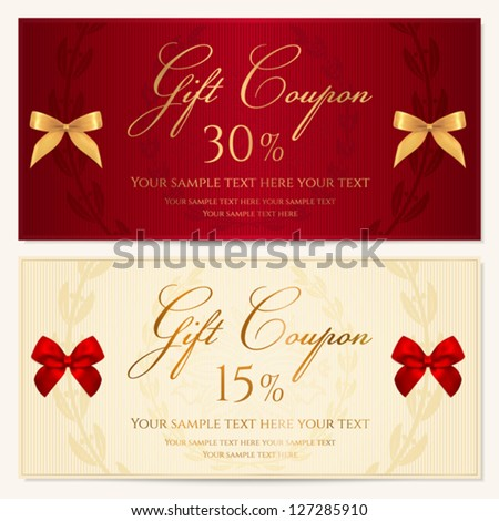 Voucher Template With Border And Red Bow (ribbons). This Background Design  Usable For