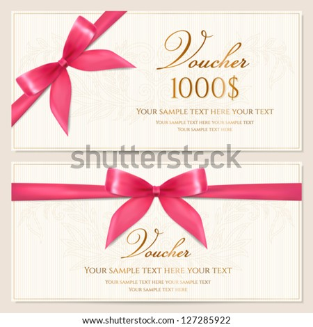 Voucher template with floral pattern, border and red bow (ribbons). Design usable for gift coupon, voucher, invitation, certificate, diploma, ticket etc. Corrugated background. Vector